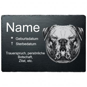 Haustier Grabplatte Englische Bulldoge 20x30 cm