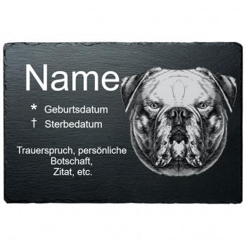 Haustier Grabplatte Amerikanische Bulldoge 20x30 cm