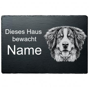 Schieferplatte - Dieses Haus bewacht - Berner Sennenhund 20x30 cm