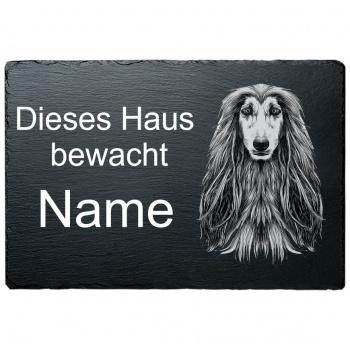 Schieferplatte - Dieses Haus bewacht - Afgahnischer Windhund 20x30 cm
