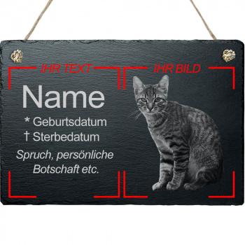 Haustier Grabplatte mit Kordel Katze mit eigenem Bild 20x30 cm