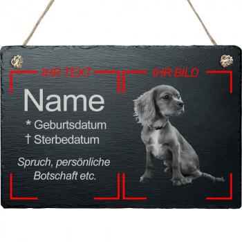 Haustier Grabplatte mit Kordel Hund mit eigenem Bild 20x30 cm