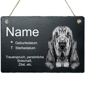 Haustier Grabplatte mit Kordel Bluthund