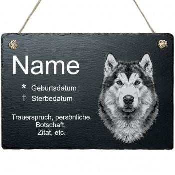 Haustier Grabplatte mit Kordel Husky