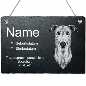 Haustier Grabplatte mit Kordel Windhund
