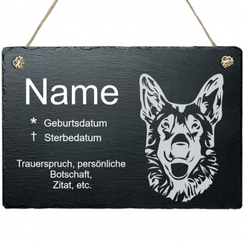 Haustier Grabplatte mit Kordel Schäferhund