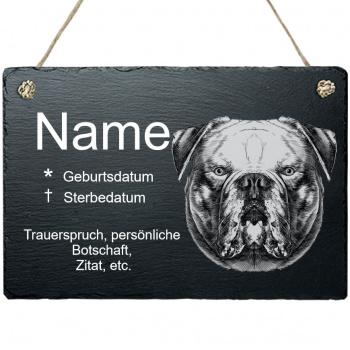 Haustier Grabplatte mit Kordel Amerikanische Bulldoge