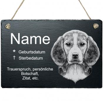 Haustier Grabplatte mit Kordel Beagle