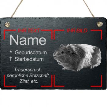 Haustier Grabplatte mit Kordel Meerschweinchen mit eigenem Bild 20x30 cm