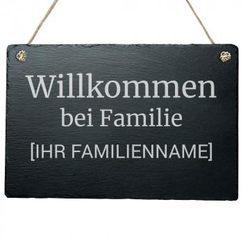 Haustürschild Wilkommen bei Familie 20x30 cm
