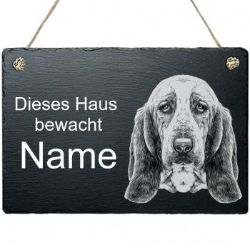 Schieferplatte - Dieses Haus bewacht - mit Kordel Bluthund