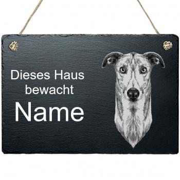 Schieferplatte - Dieses Haus bewacht - mit Kordel Windhund
