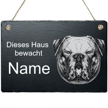 Schieferplatte - Dieses Haus bewacht - mit Kordel Amerikanische Bulldoge 20x30 cm