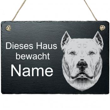 Schieferplatte - Dieses Haus bewacht - mit Kordel Argentinische Dogge