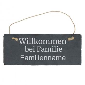 Haustürschild Wilkommen bei Familie 10x25 cm