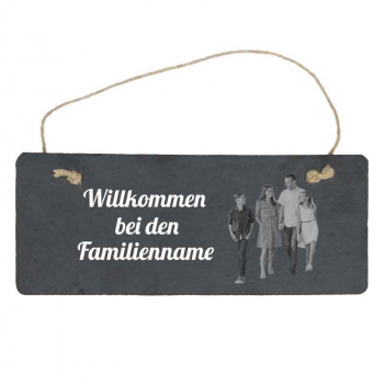 Haustürschild Familie mit eigenem Bild 10x25 cm