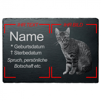 Haustier Grabplatte Katze mit eigenem Bild 30x40 cm