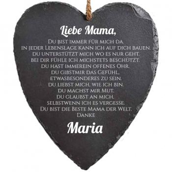 Schieferherz Liebe Mama 23x27 cm