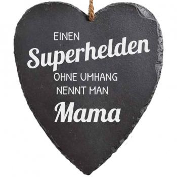 Schieferherz Supermama 23x27 cm