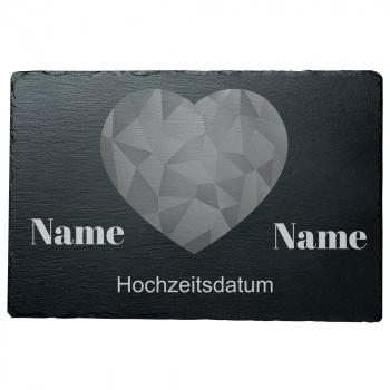 Schieferplatte Herz abstrakt 20x30 cm