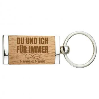 Holz und Metall Schlüsselanhänger 2,4x4,8 cm für immer