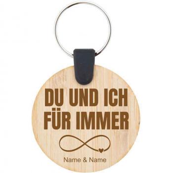 Holz-Schlüsselanhänger 4,5 cm für immer