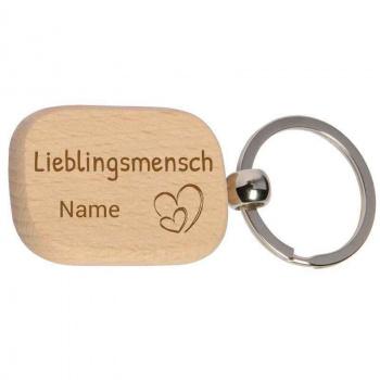 Holz-Schlüsselanhänger 3x4,5 cm Lieblingsmensch